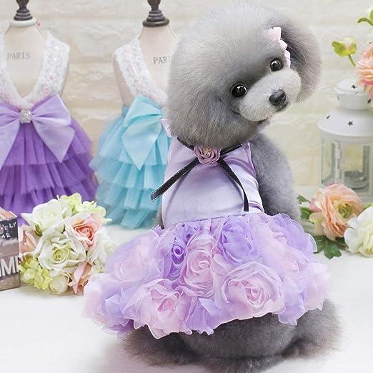 Pequeño Perro niña Vestido, Delgada Linda Floral Princesa Cinta ...