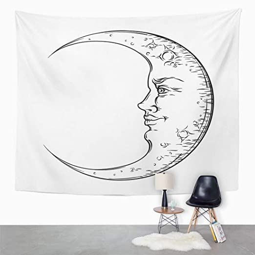 96b073303 Amazon.com: Emvency Wall Tapestry Sketch Antique Style Hand Drawn Crescent  Moon Boho Chic Tattoo Design Vintage Drawing Face Mystic Night Aged Alchemy  Decor ...