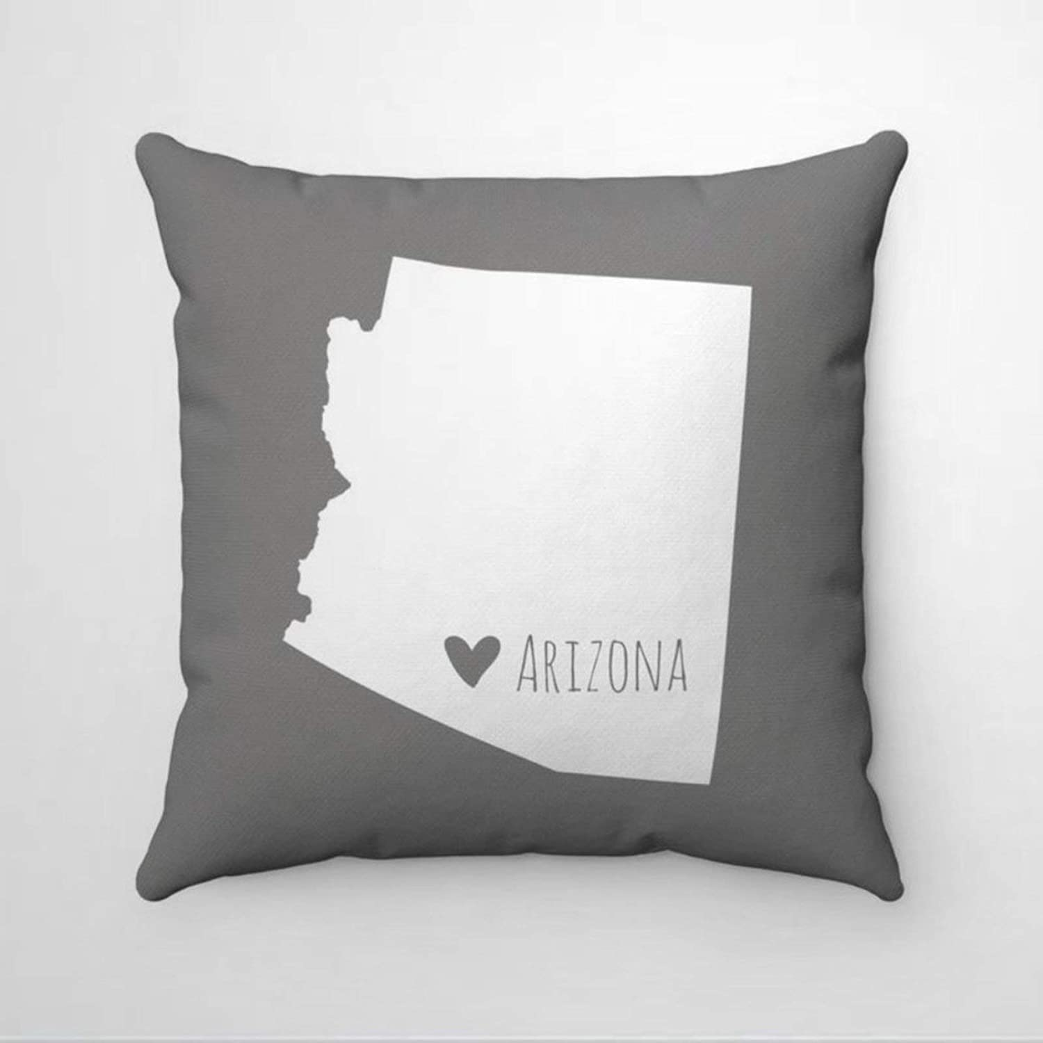 "DONL9BAUER Heart Arizona Map Pillowcase Home State Map Decorative Square Throw Pillow Covers Farmhouse Cushion Cover for Sofa Couch Home Decor 18""x18"""