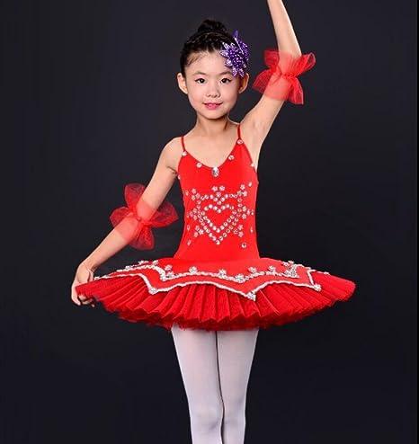 Trajes de Ballet de los niños Ballet Danza Falda niña Traje Rojo ...