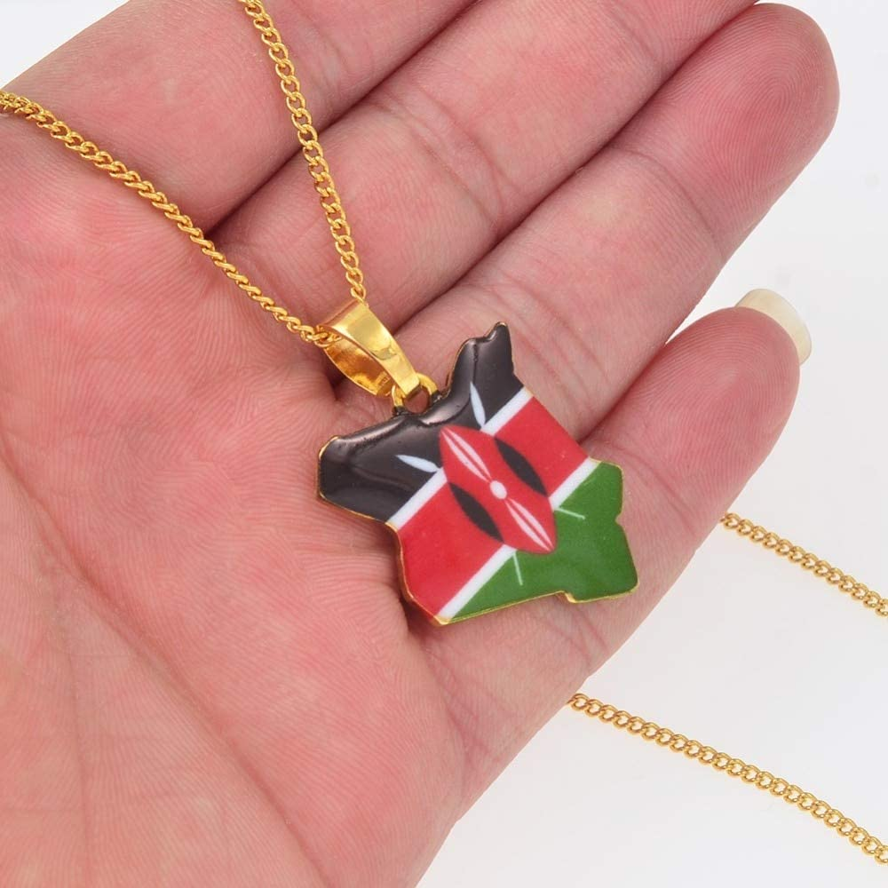 SWAOOS Map of Kenya Flag Enamel Pendant Necklaces Jewellery Gold Color African Country Map Jewelry Kenyans Map Gift