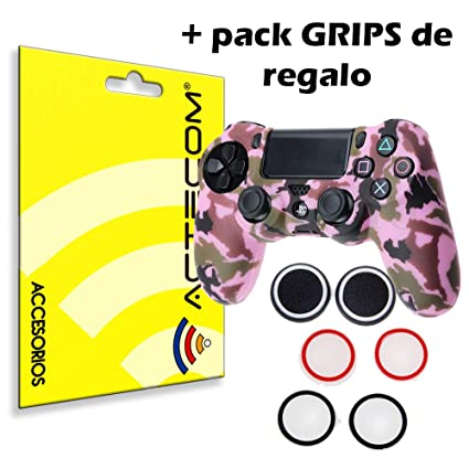 ACTECOM® Funda Carcasa + Grip Silicona Camuflaje Mando Sony PS4 Playstation 4 Camuflaje Rosa