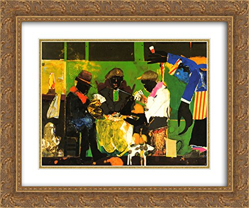 Card Players, 1982 2X Matted 15x18 Gold Ornate Framed Art Print by Romare Bearden