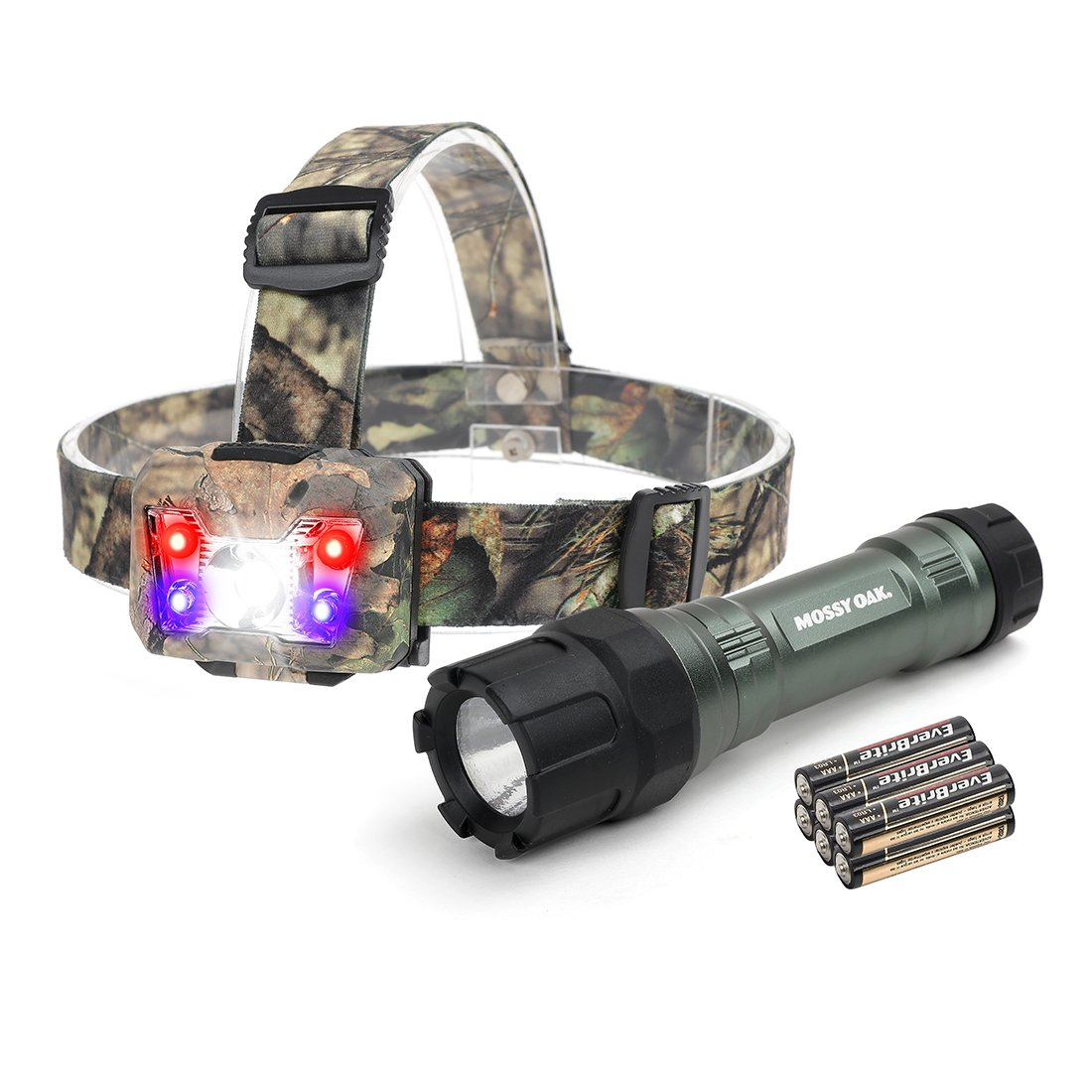 MOSSY OAK Tactical LED Flashlight Shock-proof 500 Lumens and Headlamp 300 Lumens, Battery Powered Helmet Light Combo Kit for Camping, Running, Hiking and Reading, 6 AAA Alkaline Batteries Included by Mossy Oak