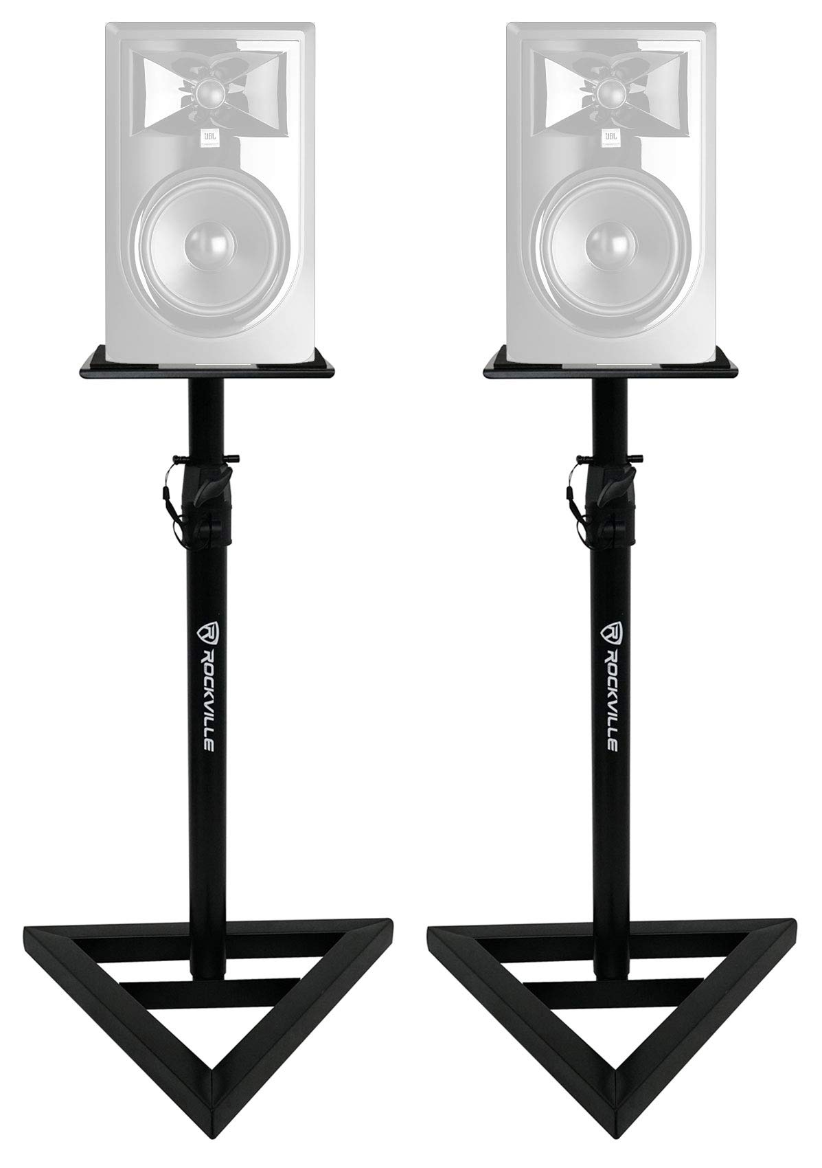 2) Rockville Adjustable Studio Monitor Speaker Stands For JBL 306P MKII Monitors