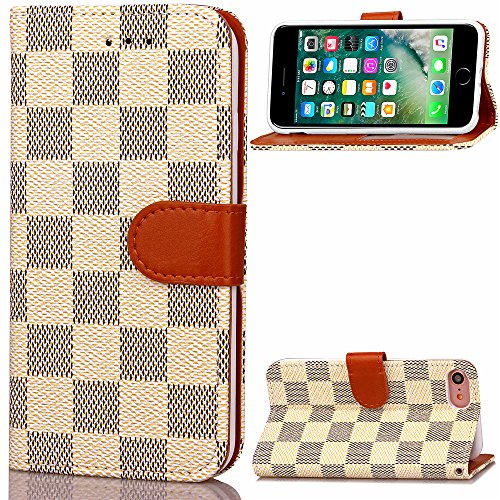 iPhone 8 Case Wallet Luxury Grid Checker Faux Leather Fashion Designer Magnet Flip Case Skin Cover Stand With Card holder For iPhone 7 iPhone 8 (WHITE)