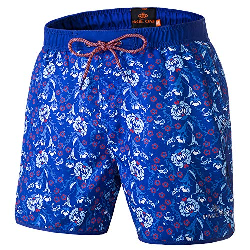 Trunks Hawaiian Lined Swim (PAGE ONE Men Swim Trunks Casual Drawstring Beach Short Mesh Lining with Pockets)