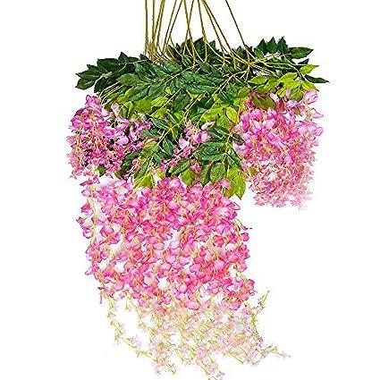 amazon com mavee 12 piece 3 6 feet artificial silk wisteria vine