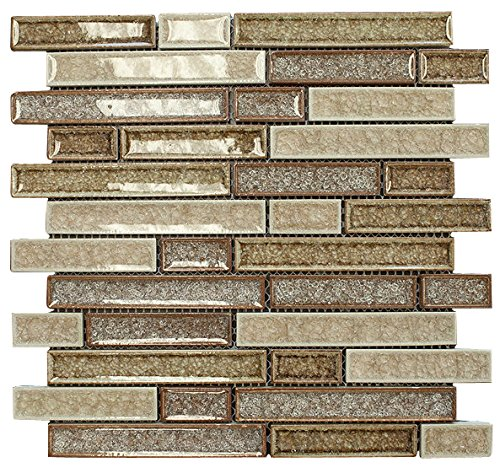 Cream Wall Tile (Cream Caramel Glossy Crackle Crystal Mosaic Tiles for Bathroom and Kitchen Walls Kitchen Backsplashes (Free Shipping))