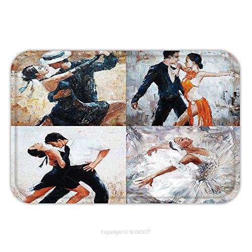 Flannel Microfiber Non-slip Rubber Backing Soft Absorbent Doormat Mat Rug Carpet Tango Dancers Oil Painting Girl Ballerina In 366440951 for Indoor/Outdoor/Bathroom/Kitchen/Workstations