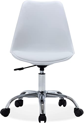 BELLEZE Upholstery Mid-Back Office Desk Chair Faux Leather Height Adjustable Swivel