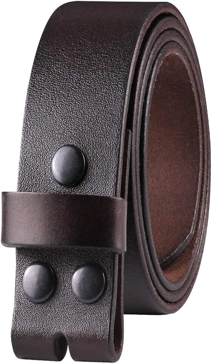 Genuine Full Grain Leather Belt without Belt Buckle Vintage Leather Distressed Black Belt Strap