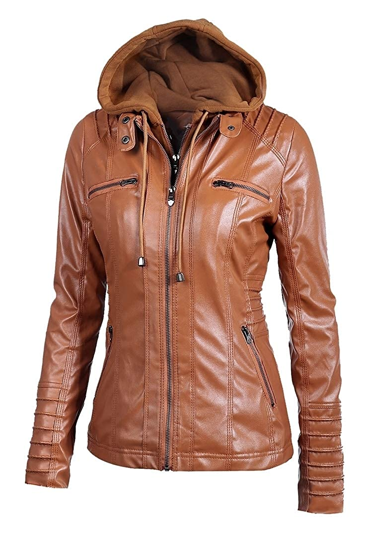 Brown pujinggeCA Womens Long Sleeve Hooded Faux Leather Moto Biker Quilted Short Jacket