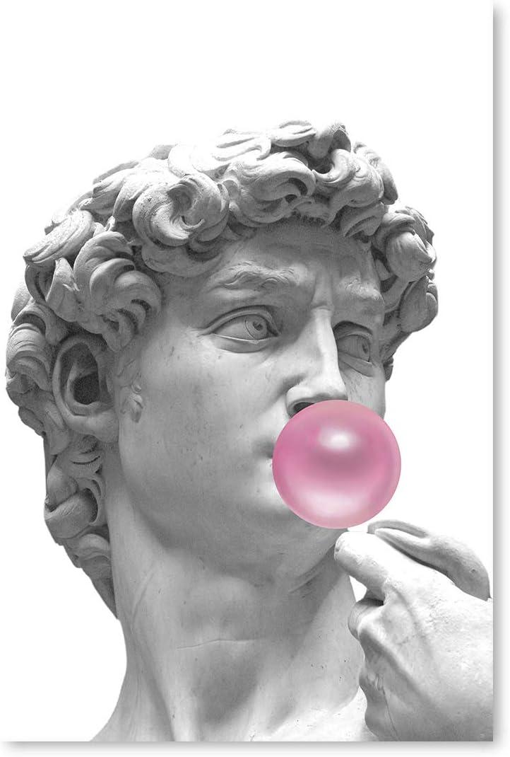 David Blowing Pink Bubble Gum Wall Art Pink Poster Print Art Printed Art David Poster Wall Decor Renaissance Sculpture Funny Collage Art 32