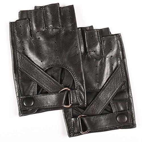 Magelier Half-Finger Leather Gloves Goatskin Outdoor Riding for Women Girlfriend Gift ()