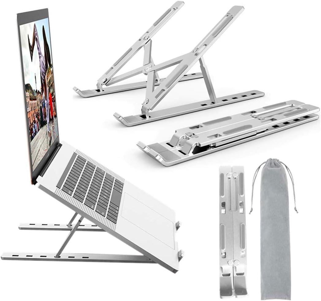 "Adjustable Laptop Stand Aluminum Laptop Computer Tablet Portable Ergonomic Stand Mount Foldable Portable Desktop Holder Fully Collapsible Compatible 10-15.6"" Laptops or Tablet"