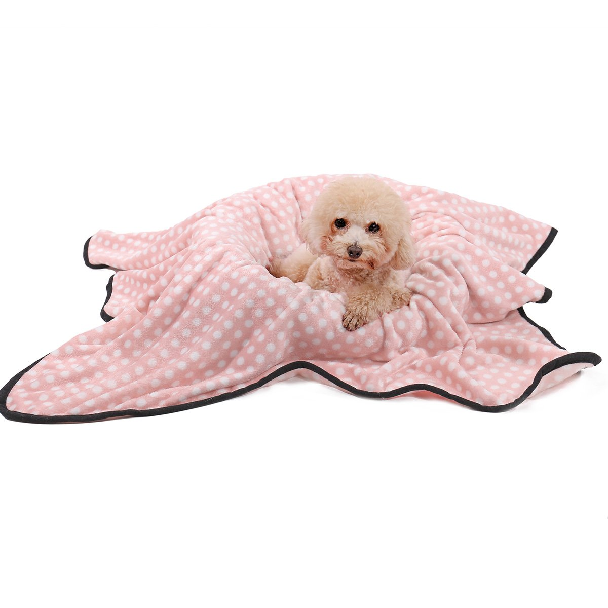 Ohana Pet Dog Blanket Fleece Snuggle Dotted Puppy Bed Ultra Soft Blanket Washable For Small Medium Large Dogs and Cats 3 Colors 3 Sizes