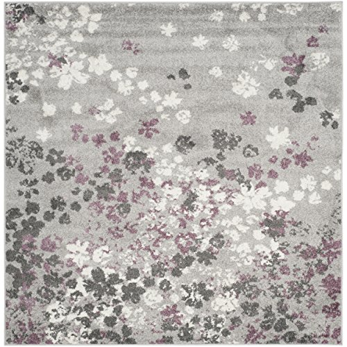 Safavieh Adirondack Collection ADR115M Light Grey and Purple Contemporary Floral Square Area Rug (8' Square) - Transitional 8' Square Rug