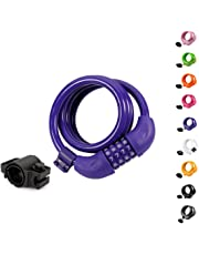 Titanker Bike Lock, Bike Locks Cable 4 Feet Coiled Secure Resettable Combination Bike Cable Lock with Mounting Bracket, 1/2 Inch Diameter