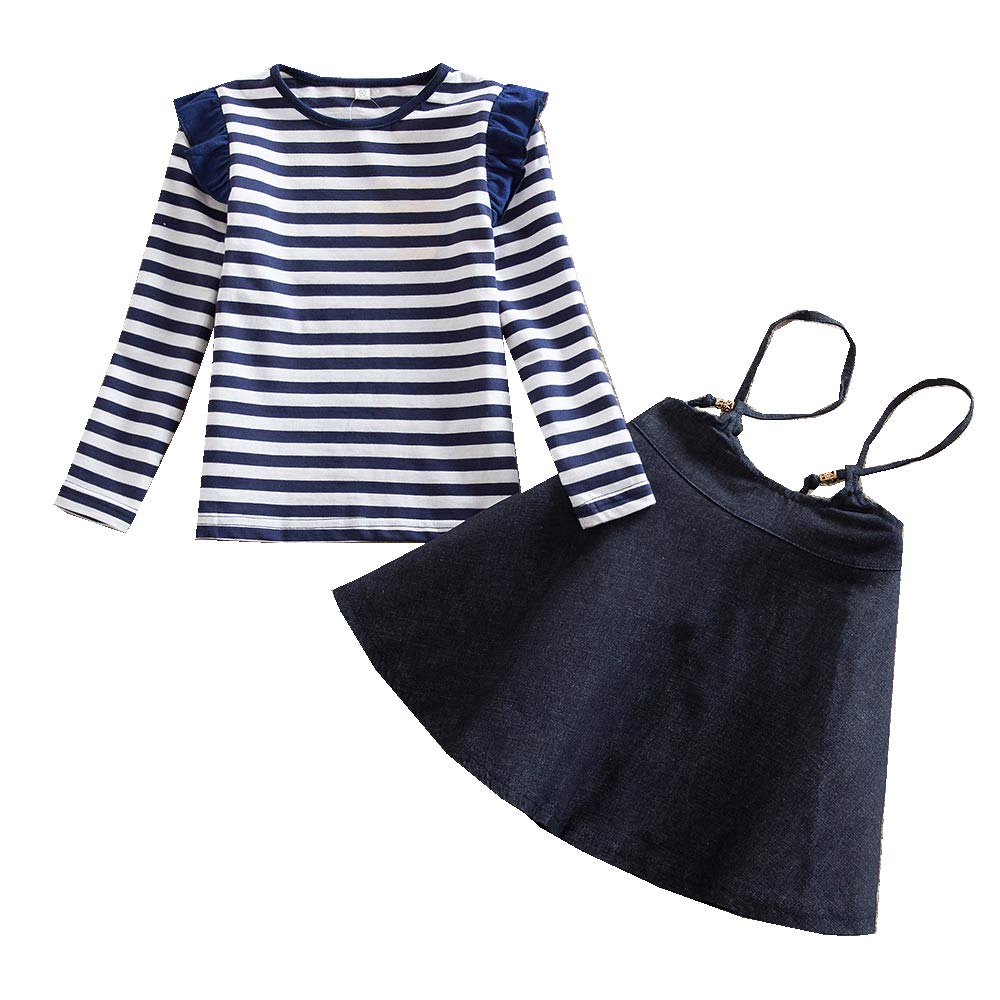 JUXINSU Girls Cotton Long Sleeve T-Shirt Denim Skirt Set for Winter and Autumn 2-7 Years TL612 (Navy, 4T)