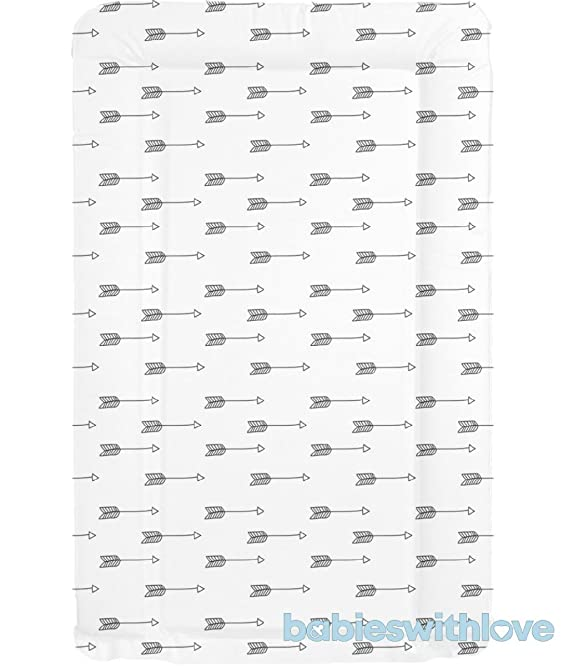 Black /& White Arrow Design Deluxe Unisex Baby Waterproof Changing Mat with Raised Edges