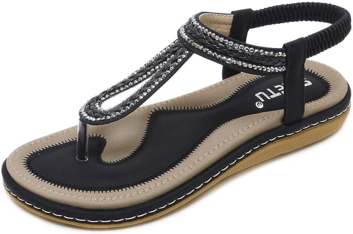 CZF Women Bohemian Rhinestone Braided Flat Sandals Flip Flops