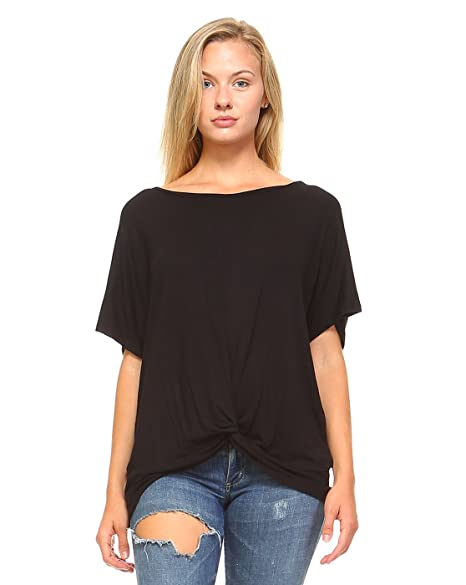 Amie Finery Knot Front Tie Tee Shirt Top For Women Loose Fit Fashion Tops  Medium Black