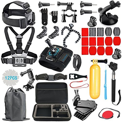 RayHom Outdoor Sports Camera Accessory Kit for GoPro Hero6/5/4/3+/3/2/1 Black Silver,Hero 2018 ,Hero Session,Action Video Cameras Xiaomi Yi Lightdow AKASO DBPOWER,Carrying Case/Chest Strap/Head Strap by RayHom