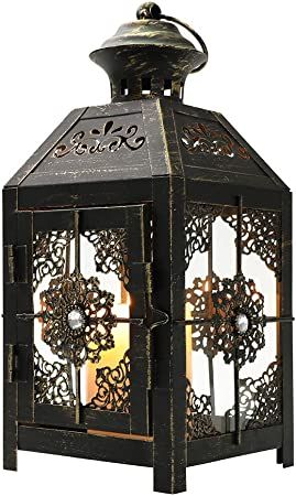 Jhy Design Decorative Lantern 23 Cm High Metal Candle Lantern Vintage Style Hanging Lantern For Wedding Parties Indoor Outdoor Black With Gold Brush Amazon Co Uk Kitchen Home