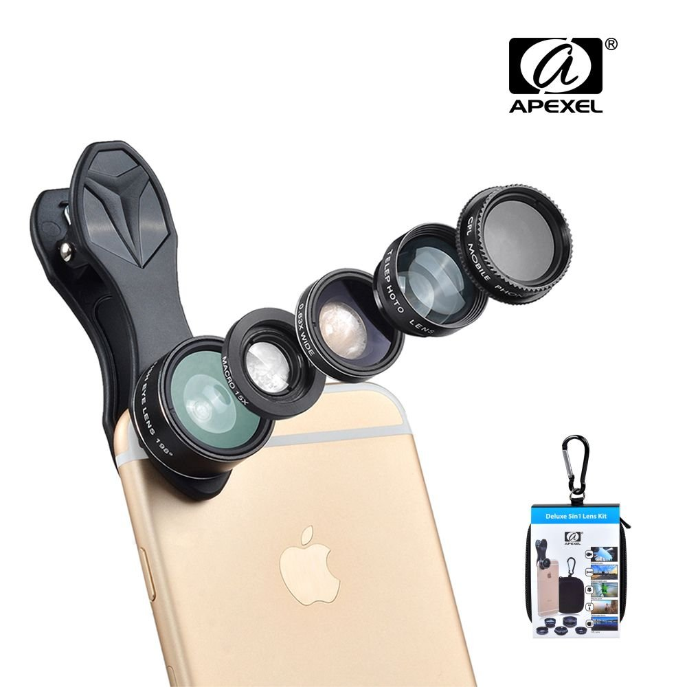 iPhone Camera Lens, 12x Telephoto Lens + 0.63x Wide Angle & Macro Lenses + 180° Fisheye Lens, Clip-On Lenses for iPhone X 8 7 6s 6 Plus, Samsung Smartphones & Tablet BooTaa 12X Telescope Marco