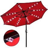 9' Outdoor Patio Aluminium Umbrella 32 Solar Powered LED Crank Tilt UV30+ 180g Cover Top Beach Deck (Red)