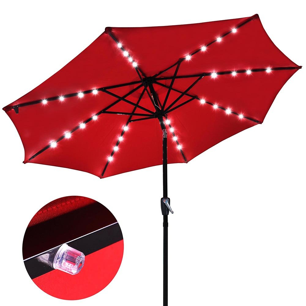 Amazon.com : 9u0027 Outdoor Patio Aluminium Umbrella 32 Solar Powered LED Crank  Tilt UV30+ 180g Cover Top Beach Deck (Red) : Garden U0026 Outdoor