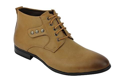 Zapatos Xposed para hombre, diseño italiano de piel sintética, estilo botas con cordones Derby, color Marrón, talla 43 EU: Amazon.es: Zapatos y complementos