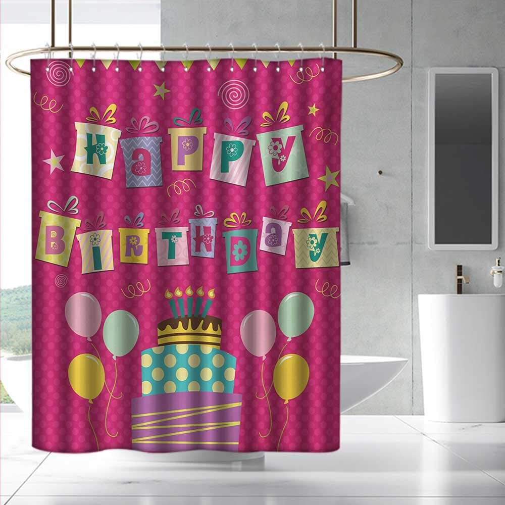 Fakgod Kids Birthday Shower Curtain with Hooks Colorful Letters in Shape of Present Boxes Balloons Cake Graphic Bathroom Decoration W108 x L72 Dark Coral Multicolor by Fakgod (Image #1)