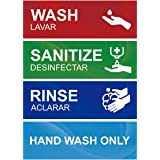 Wash Rinse Sanitize Sink Labels, Hand Wash Only Sign, 4 Pack 3 Compartment Sink Waterproof Sticker Signs for Wash Station, Co
