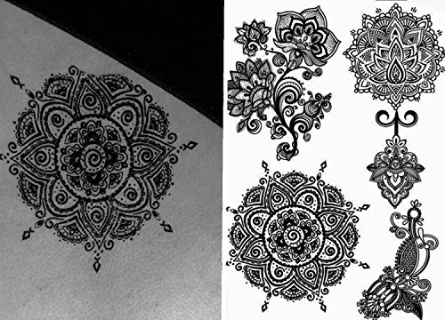Henna Tattoo (6 Sheets) Body Paints Temporary Tattoo Designs Feathers/Mandala/Cats/Lotus/Bracelet/Elephant/Birds and more by Gilded Girl (Image #6)
