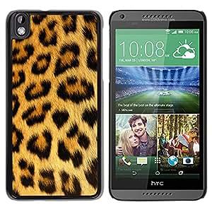 KOKO CASE / HTC DESIRE 816 / leopardo pantera manchas marrones modelo de la piel / Delgado Negro Plástico caso cubierta Shell Armor Funda Case Cover