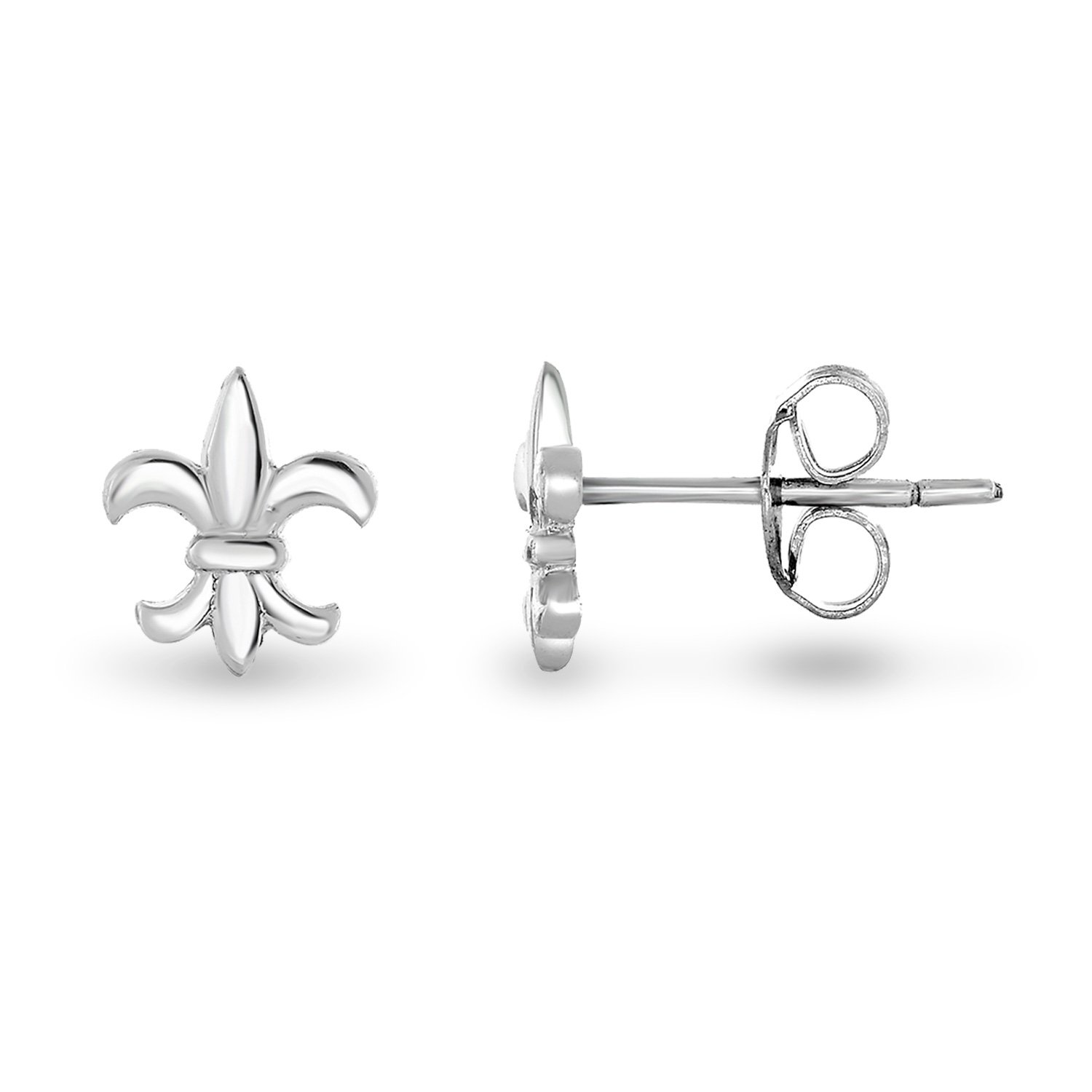 Spoil Cupid Rhodium-Plated Sterling Silver the Mini Fleur De Lis Lily Flower Stud Earrings