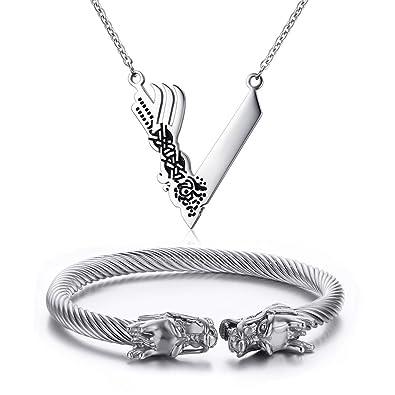 Vnox - Joyas de oro de Viking Norse de acero inoxidable, con esclava trenzada de dragón vikingo y collar vikingo