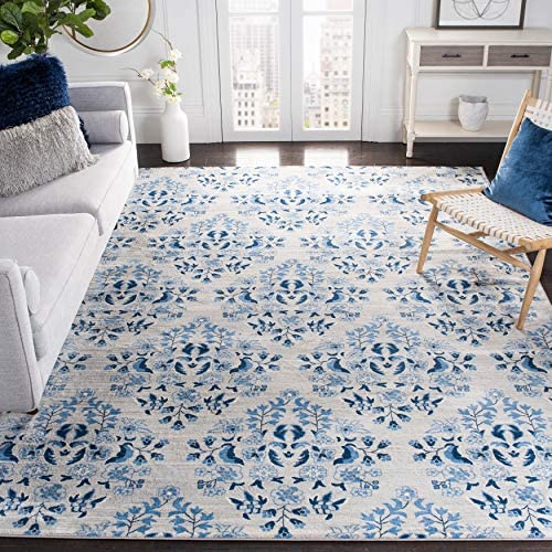 Safavieh Brentwood Collection BNT856D Floral Shabby Chic Trellis Non-Shedding Stain Resistant Living Room Bedroom Area Rug