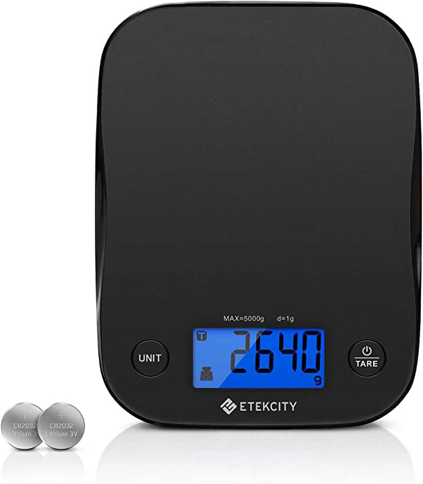 Etekcity Food Scale Weight for Cooking and Baking, Backlit Display with 5 Units, 1 Gram, Black