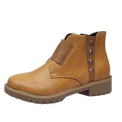 Women Combat Ankle Boots | Ladies Retro Vintage Color Block Rivet Short Booties | Fashion Round Toe Anti-Slip Boot with Side Zipper: Garden & Outdoor