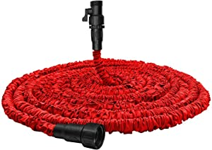 """Garden Hose, Water Hose, Upgraded Flexible Pocket Expandable Garden Hose with 3/4"""" Fittings, Triple-layer Core, Flexi Expanding Hose useful house gifts for Outdoor Lawn Car Watering Plants Red (100FT)"""