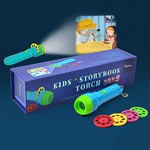 Huslieli - Linterna de proyección para niños con 4 cuentos de ...