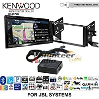 Volunteer Audio Kenwood DNX574S Double Din Radio Install Kit with GPS Navigation Apple CarPlay Android Auto Fits 2007-2014 Toyota FJ Cruiser with Amplified System