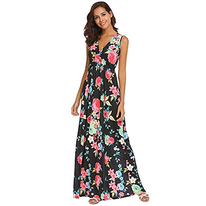 5ee224687287 Owill Women Summer Floral Printed V Neck Sleeveless Maxi Casual Dress (Black