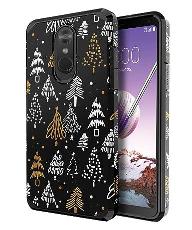 PBRO LG Stylo 4 Phone Case/LG Stylo 4 Case/LG Q Stylus Case,Cute Christmas  Tree Case Dual Layer Soft Silicone & Hard Back Cover Heavy Duty PC+TPU