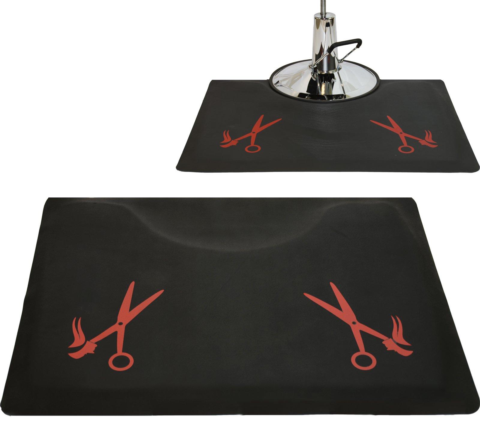 LCL Beauty 1/2'' Rectangle Anti Fatigue Beauty Barber Floor Mat with Red Salon Scissor Design
