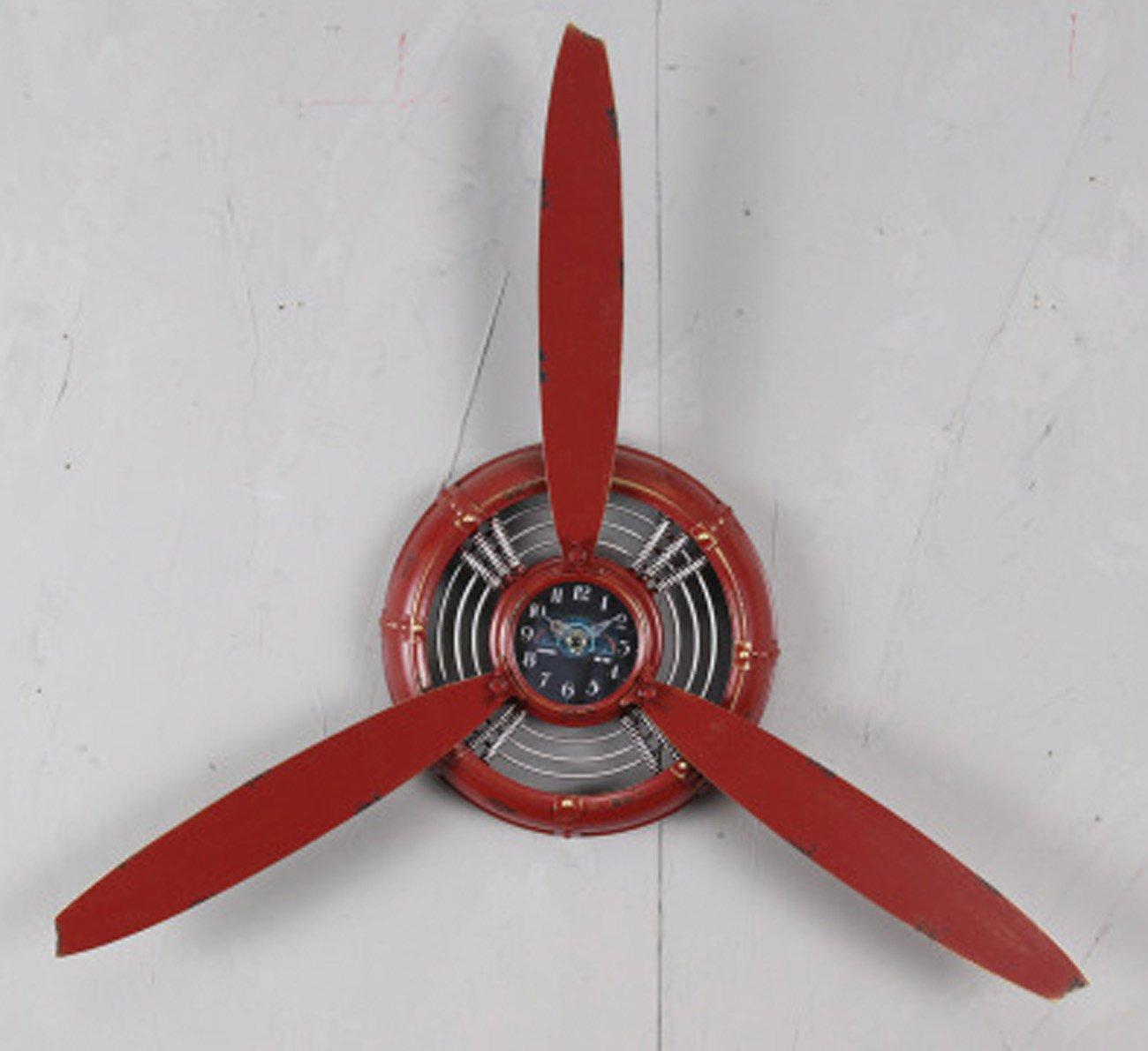 クロック 古い産業スタイルの航空機プロペラのモデルウォールクロック、レトロアイアンハンギングウォッチ、ビンテージバーカフェレストラン装飾的な壁時計(100 * 15 * 70センチメートル) ウォールオーナメント (色 : 赤) B07F5MJPRZ 赤 赤