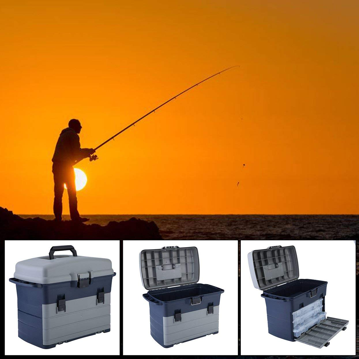 Heavy Duty Fishing Tackle Box 3 Layers Removable Trays Storage Organizer Case Tool Fishing Accessories Lures Bait Storage Box by ToGames (Image #5)